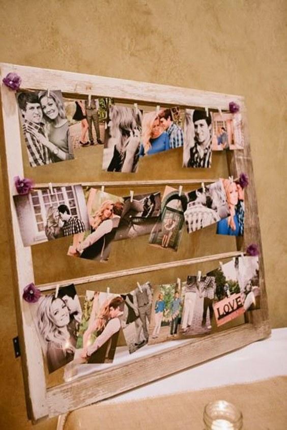 rustic-country-wood-wedding-photo-display
