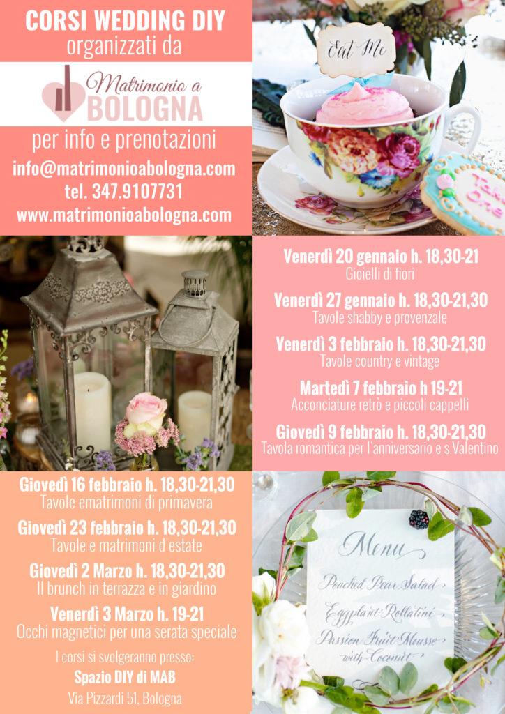Calendario corsi wedding DIY (fai da te) per il 2017