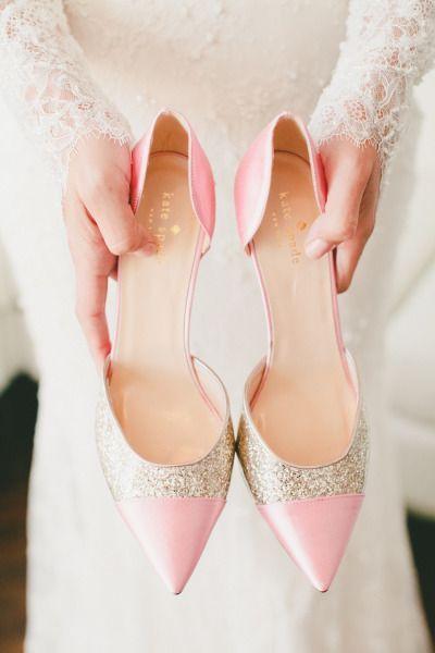 scarpe rosa e oro
