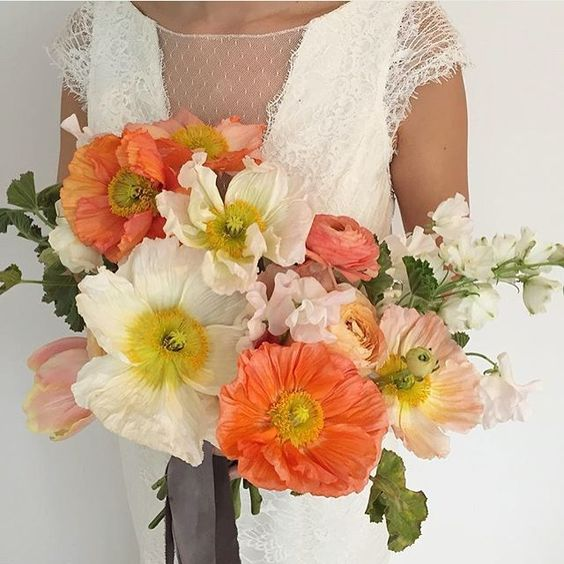 Bouquet sposa papaveri