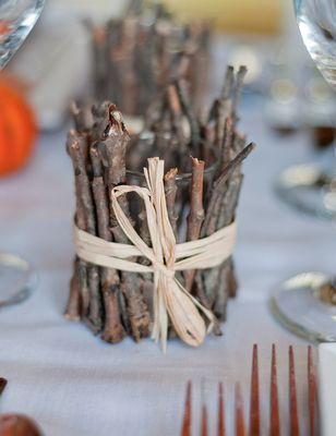 centrotavola con legno e rami